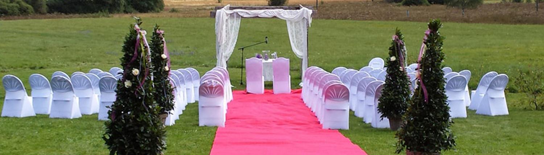 Hochzeits Arrangement mit rotem Teppich